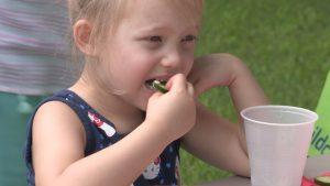 Girl east cucumber