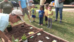 Kids at planter boxes